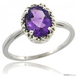 10k White Gold Diamond Halo Amethyst Ring 1.2 ct Oval Stone 8x6 mm, 1/2 in wide