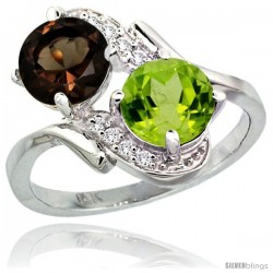 14k White Gold ( 7 mm ) Double Stone Engagement Smoky Topaz & Peridot Ring w/ 0.05 Carat Brilliant Cut Diamonds & 2.34 Carats