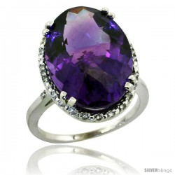 10k White Gold Diamond Halo Large Amethyst Ring 10.3 ct Oval Stone 18x13 mm, 3/4 in wide