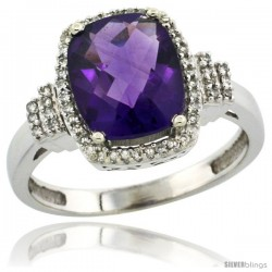 10k White Gold Diamond Halo Amethyst Ring 2.4 ct Cushion Cut 9x7 mm, 1/2 in wide