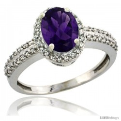 10k White Gold Diamond Halo Amethyst Ring 1.2 ct Oval Stone 8x6 mm, 3/8 in wide