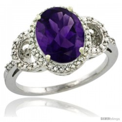 10k White Gold Diamond Halo Amethyst Ring 2.4 ct Oval Stone 10x8 mm, 1/2 in wide