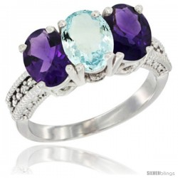 10K White Gold Natural Aquamarine & Amethyst Sides Ring 3-Stone Oval 7x5 mm Diamond Accent