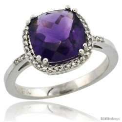 10k White Gold Diamond Amethyst Ring 3 ct Cushion Cut 9x9 mm, 1/2 in wide