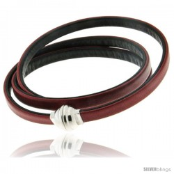 Surgical Steel Italian Leather Wrap Massai Bracelet Double-Sided w/ Super Magnet Clasp, Color Red & Black.
