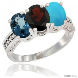 14K White Gold Natural London Blue Topaz, Garnet & Turquoise Ring 3-Stone 7x5 mm Oval Diamond Accent