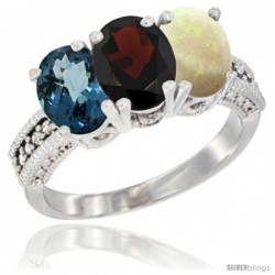 14K White Gold Natural London Blue Topaz, Garnet & Opal Ring 3-Stone 7x5 mm Oval Diamond Accent