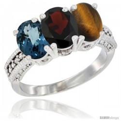 14K White Gold Natural London Blue Topaz, Garnet & Tiger Eye Ring 3-Stone 7x5 mm Oval Diamond Accent