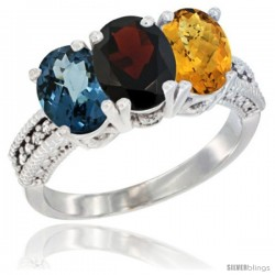 14K White Gold Natural London Blue Topaz, Garnet & Whisky Quartz Ring 3-Stone 7x5 mm Oval Diamond Accent