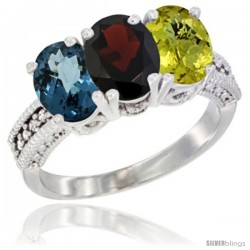 14K White Gold Natural London Blue Topaz, Garnet & Lemon Quartz Ring 3-Stone 7x5 mm Oval Diamond Accent