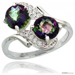 14k White Gold ( 7 mm ) Double Stone Engagement Mystic Topaz Ring w/ 0.05 Carat Brilliant Cut Diamonds & 2.34 Carats Round