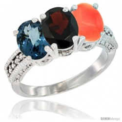 14K White Gold Natural London Blue Topaz, Garnet & Coral Ring 3-Stone 7x5 mm Oval Diamond Accent