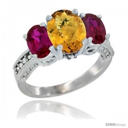 14K White Gold Ladies 3-Stone Oval Natural Whisky Quartz Ring with Ruby Sides Diamond Accent