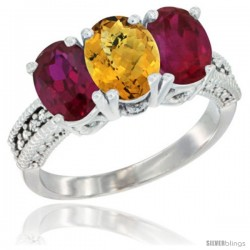 14K White Gold Natural Whisky Quartz & Ruby Sides Ring 3-Stone 7x5 mm Oval Diamond Accent