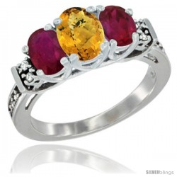 14K White Gold Natural Whisky Quartz & Ruby Ring 3-Stone Oval with Diamond Accent