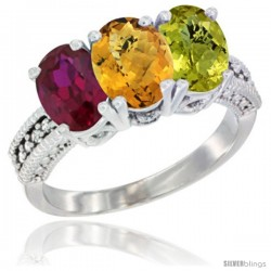 14K White Gold Natural Ruby, Whisky Quartz & Lemon Quartz Ring 3-Stone 7x5 mm Oval Diamond Accent