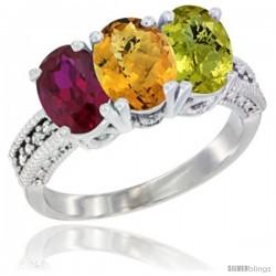14K White Gold Natural Ruby, Whisky Quartz & Lemon Quartz Ring 3-Stone 7x5 mm Oval Diamond Accent