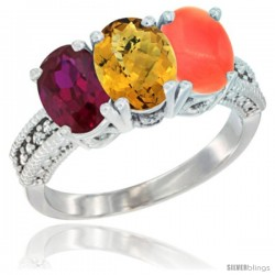 14K White Gold Natural Ruby, Whisky Quartz & Coral Ring 3-Stone 7x5 mm Oval Diamond Accent