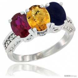 14K White Gold Natural Ruby, Whisky Quartz & Lapis Ring 3-Stone 7x5 mm Oval Diamond Accent