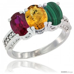 14K White Gold Natural Ruby, Whisky Quartz & Malachite Ring 3-Stone 7x5 mm Oval Diamond Accent