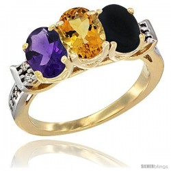 10K Yellow Gold Natural Amethyst, Citrine & Black Onyx Ring 3-Stone Oval 7x5 mm Diamond Accent