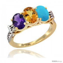 10K Yellow Gold Natural Amethyst, Citrine & Turquoise Ring 3-Stone Oval 7x5 mm Diamond Accent