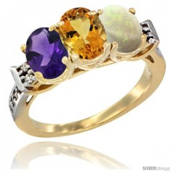 10K Yellow Gold Natural Amethyst, Citrine & Opal Ring 3-Stone Oval 7x5 mm Diamond Accent