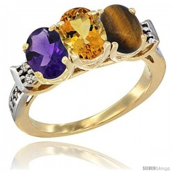 10K Yellow Gold Natural Amethyst, Citrine & Tiger Eye Ring 3-Stone Oval 7x5 mm Diamond Accent