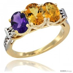 10K Yellow Gold Natural Amethyst, Citrine & Whisky Quartz Ring 3-Stone Oval 7x5 mm Diamond Accent