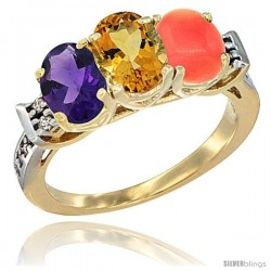 10K Yellow Gold Natural Amethyst, Citrine & Coral Ring 3-Stone Oval 7x5 mm Diamond Accent