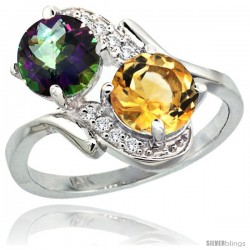 14k White Gold ( 7 mm ) Double Stone Engagement Mystic Topaz & Citrine Ring w/ 0.05 Carat Brilliant Cut Diamonds & 2.34 Carats