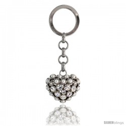 "Puffed Heart Key Chain, Key Ring, Key Holder, Key Tag, Key Fob, w/ Beads & Brilliant Cut Swarovski Crystals, 3-1/2"" tall"