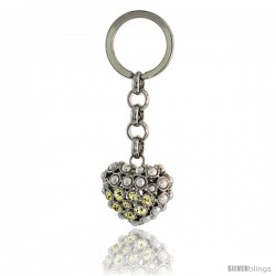 Puffed Heart Key Chain, Key Ring, Key Holder, Key Tag, Key Fob, w/ Beads & Brilliant Cut Yellow Topaz-color Swarovski Crystals