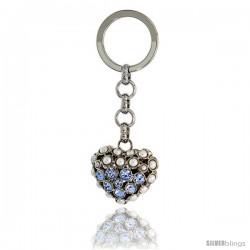 Puffed Heart Key Chain, Key Ring, Key Holder, Key Tag, Key Fob, w/ Beads & Brilliant Cut Blue Topaz-color Swarovski Crystals