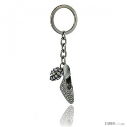 "High Heel Shoe & Heart Key Chain, Key Ring, Key Holder, Key Tag, Key Fob, w/ Brilliant Cut Pink Swarovski Crystals, 4 3/8"" tall"
