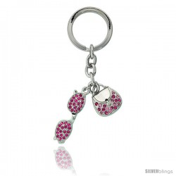 "Purse & Sunglasses Key Chain, Key Ring, Key Holder, Key Tag, Key Fob, w/ Pink Topaz-color Swarovski Crystals, 4"" tall"