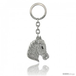 "Horse Head Key Chain, Key Ring, Key Holder, Key Tag, Key Fob, w/ Brilliant Cut Swarovski Crystals, 4"" tall"
