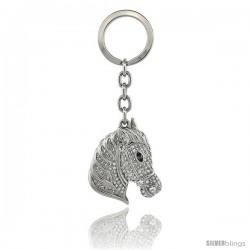 """Horse Head Key Chain, Key Ring, Key Holder, Key Tag, Key Fob, w/ Brilliant Cut Swarovski Crystals, 4"""" tall"""