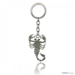 "Scorpion Key Chain, Key Ring, Key Holder, Key Tag, Key Fob, w/ Brilliant Cut Swarovski Crystals, 4"" tall"