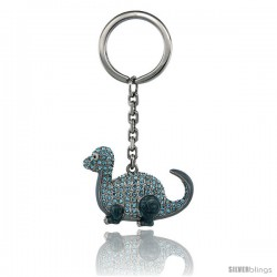 "Dinosaur Key Chain, Key Ring, Key Holder, Key Tag, Key Fob, w/ Blue Topaz-Color Swarovski Crystals, 3 1/2"" tall"