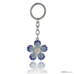 Large Flower Key Chain, Key Ring, Key Holder, Key Tag, Key Fob, w/ Clear, Blue Topaz-color & Blue Sapphire-color Swarovski