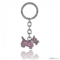 "Scottish Terrier Key Chain, Key Ring, Key Holder, Key Tag, Key Fob, w/ Pink Topaz-color Swarovski Crystals, 3-1/4"" tall"