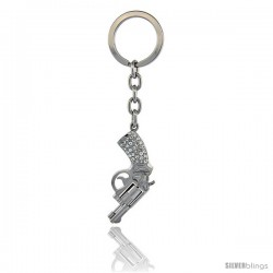 "Pistol Gun Key Chain, Key Ring, Key Holder, Key Tag, Key Fob, w/ Brilliant Cut Swarovski Crystals, 4-1/4"" tall"