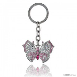 "Large Butterfly Key Chain, Key Ring, Key Holder, Key Tag, Key Fob, w/ Clear & Pink Topaz-color Swarovski Crystals, 3-1/2"" tall"