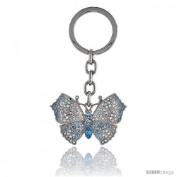 "Large Butterfly Key Chain, Key Ring, Key Holder, Key Tag, Key Fob, w/ Clear & Blue Topaz-color Swarovski Crystals, 3-1/2"" tall"