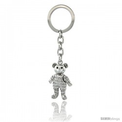 "Movable Teddy Bear Key Chain, Key Ring, Key Holder, Key Tag, Key Fob, w/ Brilliant Cut Swarovski Crystals, 4"" tall"