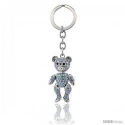 Movable Teddy Bear Key Chain, Key Ring, Key Holder, Key Tag, Key Fob, w/ Brilliant Cut Blue Topaz-Color Swarovski Crystals