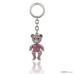 Movable Teddy Bear Key Chain, Key Ring, Key Holder, Key Tag, Key Fob, w/ Brilliant Cut Pink Topaz-Color Swarovski Crystals