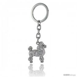 """Dog Puppy Key Chain, Key Ring, Key Holder, Key Tag, Key Fob, w/ Brilliant Cut Swarovski Crystals, 3-3/4"""" tall"""