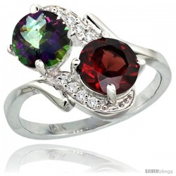 14k White Gold ( 7 mm ) Double Stone Engagement Mystic Topaz & Garnet Ring w/ 0.05 Carat Brilliant Cut Diamonds & 2.34 Carats